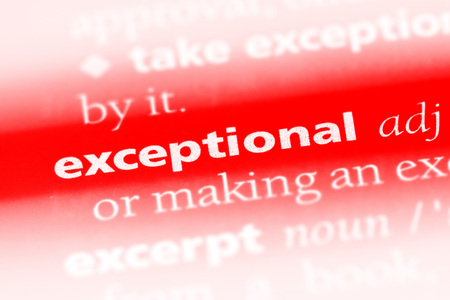 exceptional word in a dictionary. exceptional concept Stock Photo