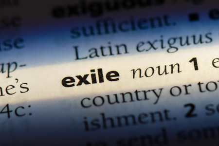 exile word in a dictionary. exile concept