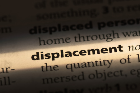 displacement word in a dictionary. displacement concept