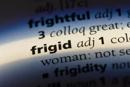frigid word in a dictionary. frigid concept Stock Photo