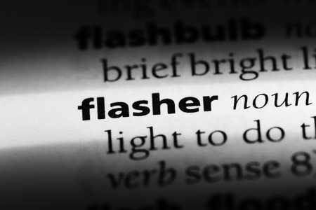 flasher word in a dictionary. flasher concept