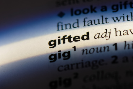 gifted word in a dictionary. gifted concept