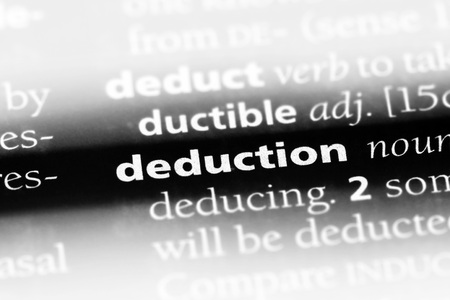 deduction word in a dictionary. deduction concept