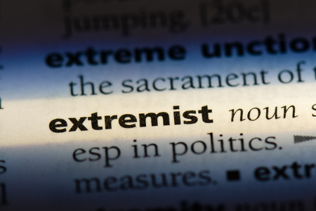 extremist word in a dictionary. extremist concept Banco de Imagens