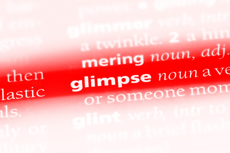 glimpse word in a dictionary. glimpse concept