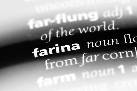 farina word in a dictionary. farina concept Stock Photo - 100443925