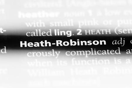 heath robinson word in a dictionary. heath robinson concept.