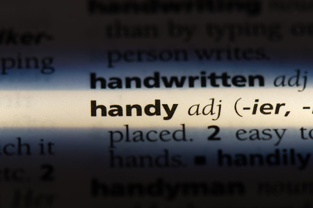 handy word in a dictionary. handy concept.