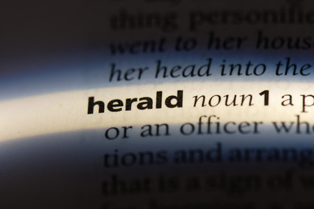 herald word in a dictionary. herald concept. Archivio Fotografico - 106973741