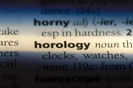 horology word in a dictionary. horology concept. Stock Photo