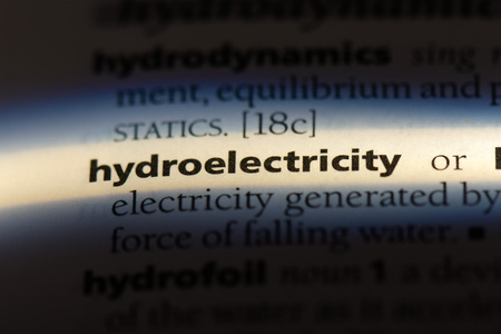 hydroelectricity word in a dictionary. hydroelectricity concept.