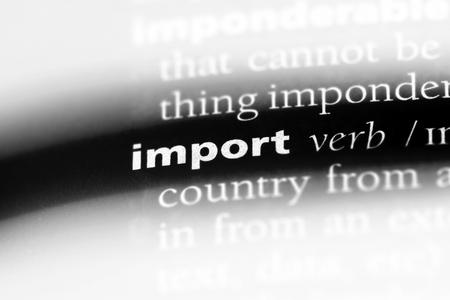 importar palabra en un diccionario. concepto de importación.