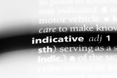 indicative word in a dictionary. indicative concept.