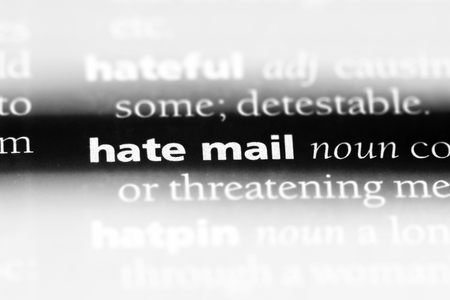 hate mail word in a dictionary. hate mail concept.