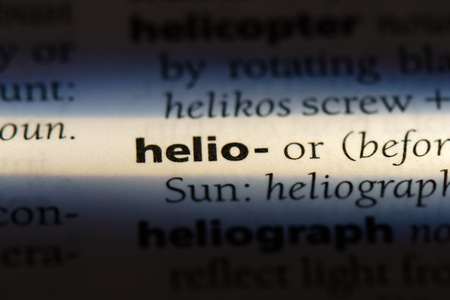 helio word in a dictionary. helio concept. Imagens