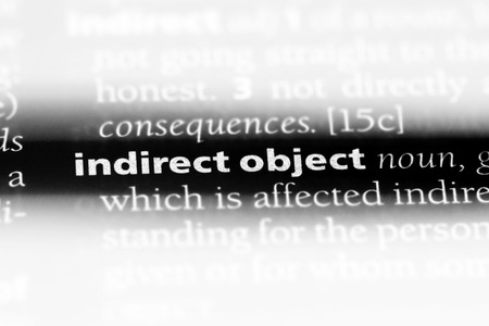 indirect object word in a dictionary. indirect object concept. Stok Fotoğraf