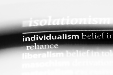 individualism word in a dictionary. individualism concept.