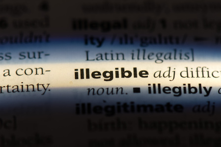 illegible word in a dictionary. illegible concept. Stock Photo - 107106716