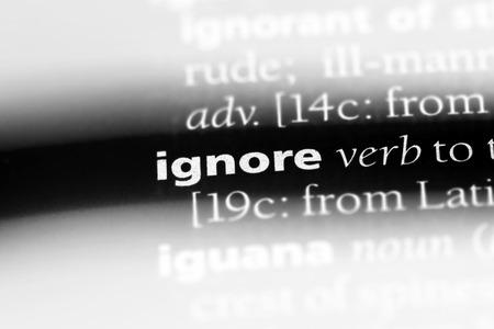 ignore word in a dictionary. ignore concept. Фото со стока