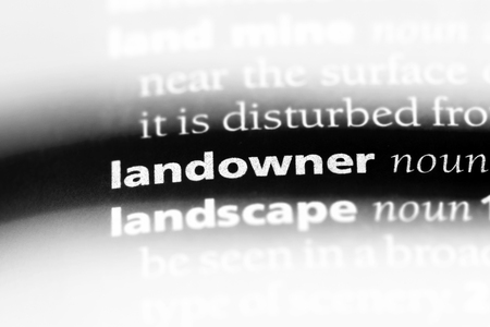 landowner word in a dictionary. landowner concept. Stok Fotoğraf - 107110583