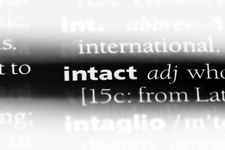 intact word in a dictionary. intact concept.