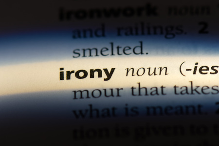 irony word in a dictionary. irony concept.
