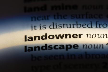 landowner word in a dictionary. landowner concept.