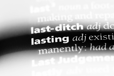 lasting word in a dictionary. lasting concept.