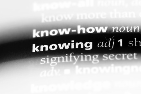 knowing word in a dictionary. knowing concept. Stock Photo