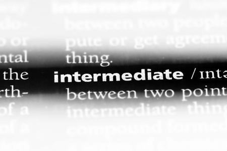 intermediate word in a dictionary. intermediate concept.