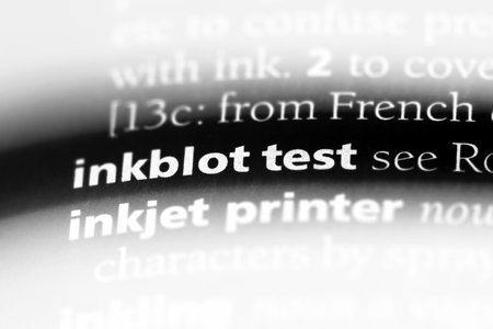 inkblot test word in a dictionary. inkblot test concept.