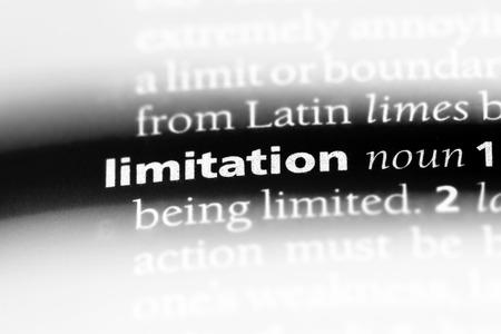 Limitación de la palabra en un diccionario. concepto de limitación.