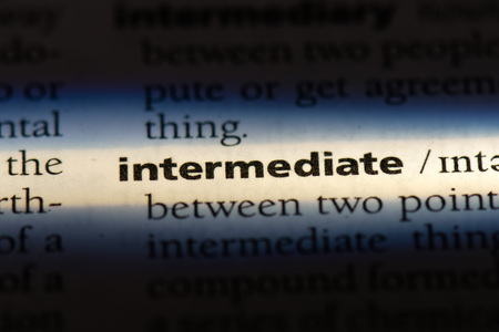 intermediate word in a dictionary. intermediate concept.