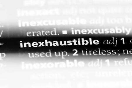 inexhaustible word in a dictionary. inexhaustible concept. Stok Fotoğraf