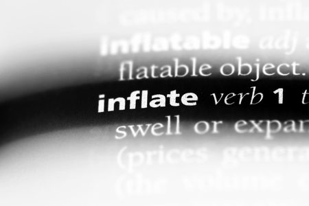 inflate word in a dictionary. inflate concept. Banque d'images