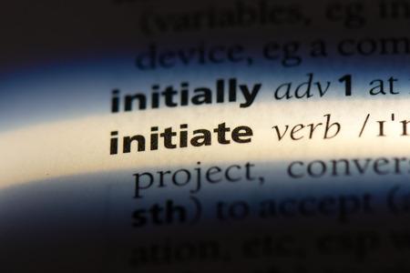 initiate word in a dictionary. initiate concept.