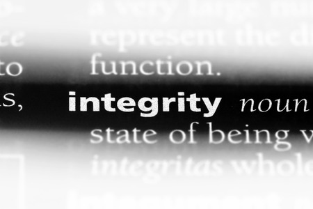 integrity word in a dictionary. integrity concept. Stock Photo