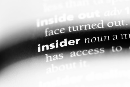 insider word in a dictionary. insider concept.