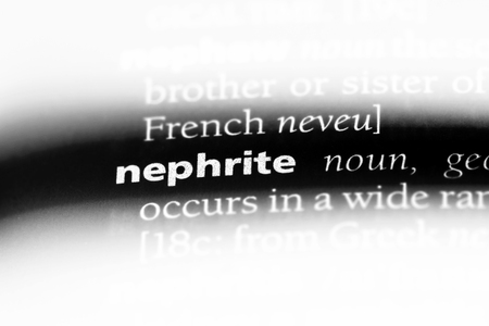 nephrite word in a dictionary. nephrite concept.