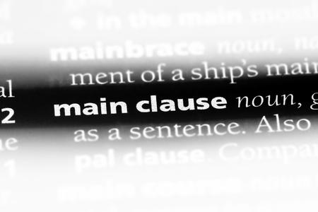 main clause word in a dictionary. main clause concept.