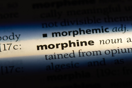 morphine word in a dictionary. morphine concept.