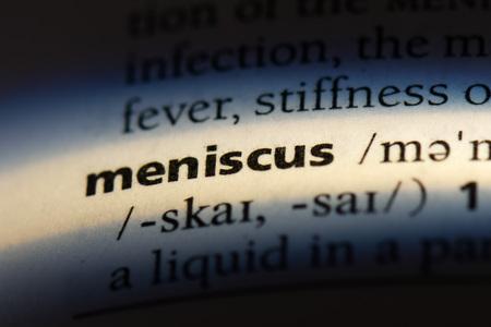 meniscus word in a dictionary. meniscus concept. Stock Photo - 107383342