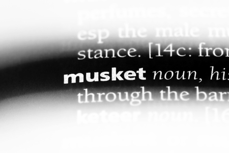 musket word in a dictionary. musket concept. Archivio Fotografico