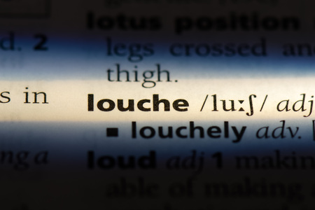 louche word in a dictionary. louche concept. Banque d'images - 107388943