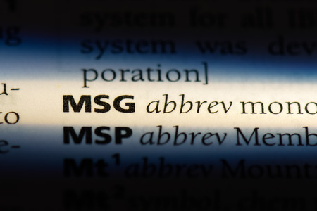 msg word in a dictionary. msg concept.
