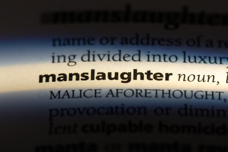 manslaughter word in a dictionary. manslaughter concept. Banco de Imagens