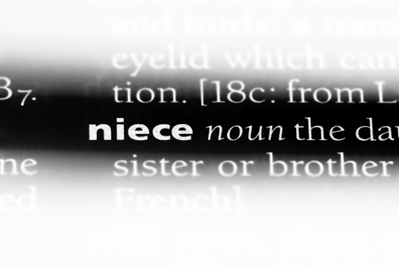 niece word in a dictionary. niece concept. 스톡 콘텐츠