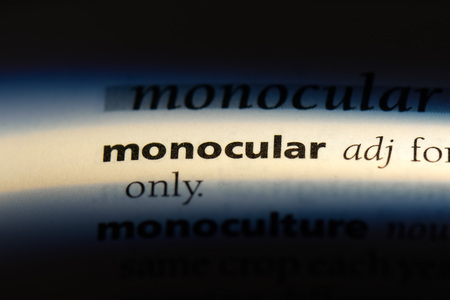 monocular word in a dictionary. monocular concept.