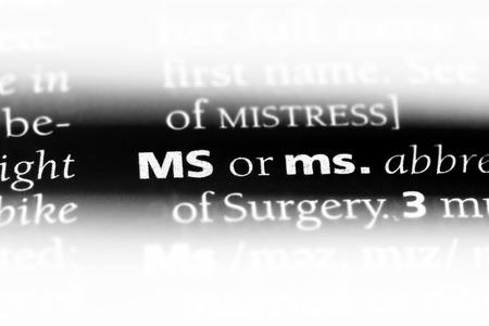 ms word in a dictionary. ms concept. Banco de Imagens