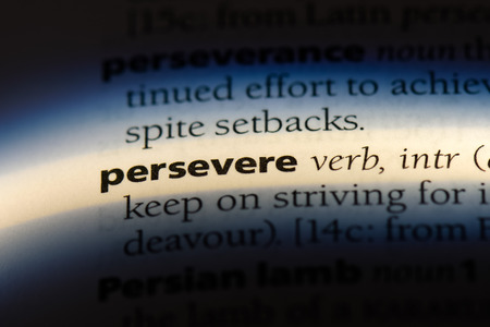 persevere word in a dictionary. persevere concept. Stockfoto - 107533802
